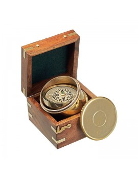 Montego Bay Cylindric boat compass in wooden gift-case